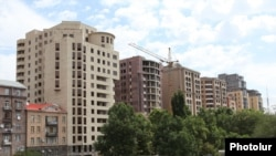 Armenia - Newly constructed residential buildings in the center of Yerevan, 28Aug2011.