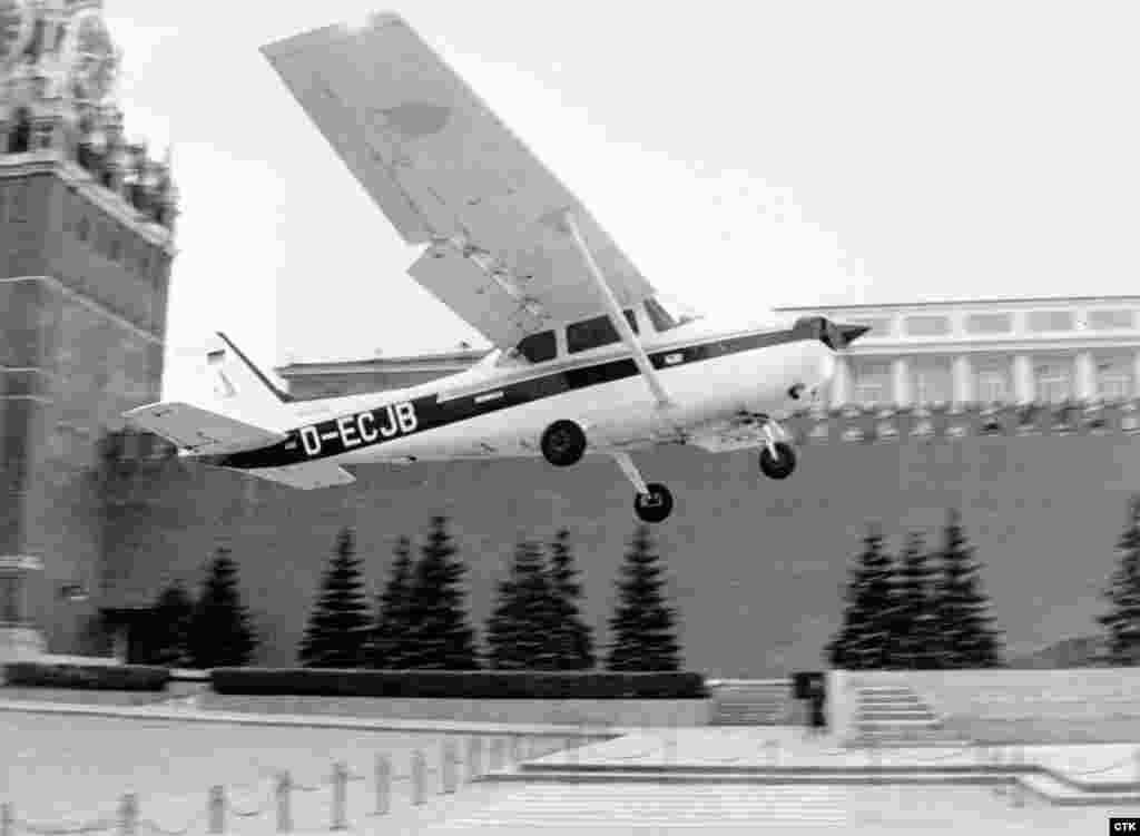 """May 1987: Teenage """"oddball"""" Mathias Rust takes off from Helsinki in a rented Cessna and veers towards the U.S.S.R. The inexperienced German pilot unwittingly eludes Soviet fighter jets and radar before landing next to the Kremlin, hoping to talk world peace with Gorbachev. Gorbachev uses the humiliation to purge the military of resistance to his reforms."""