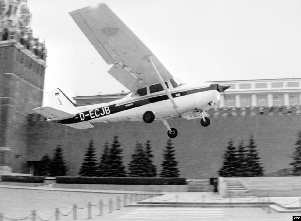 "May 1987: Teenage ""oddball"" Mathias Rust takes off from Helsinki in a rented Cessna and veers towards the U.S.S.R. The inexperienced German pilot unwittingly eludes Soviet fighter jets and radar before landing next to the Kremlin, hoping to talk world peace with Gorbachev. Gorbachev uses the humiliation to purge the military of resistance to his reforms."