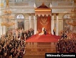 Владимир Поляков. Тронная речь императора Николая II во время открытия I государственной думы в Зимнем дворце 27 апреля 1906 года