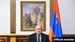 Armenian President Armen Sarkissian during an address to the nation on November 6, 2020