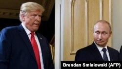 Президент США Дональд Трамп и президент России Владимир Путин на встрече в Хельсинки, Финляндия. Июль, 2018 года