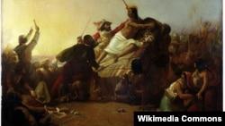 Пісарро завоювує інків. Картина Джона Еверетта Мілле