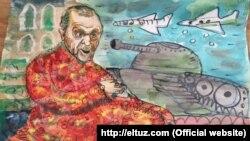 """Eltuz рассомининг янги карикатураси Эрдўғон """"тўнтариши""""га бағишланди."""