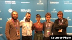 The makers of Honeyland at the Sundance film festival in 2019.