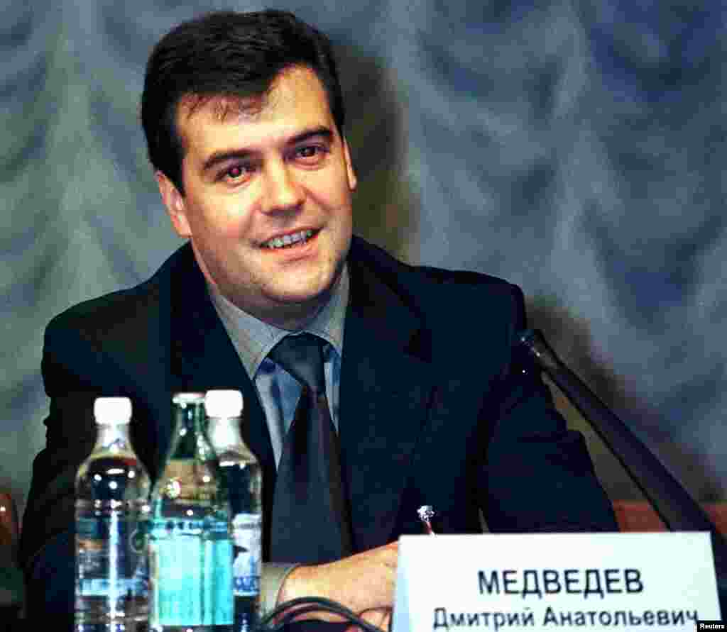 Medvedev, then the acting deputy head of Russia's presidential administration, attends a Gazprom general meeting on June 30, 2000. He was chairman of the gas monopoly's board of directors for several years.