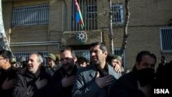 Акция протеста перед консульством Азербайджана в Тебризе. 10.12.2015