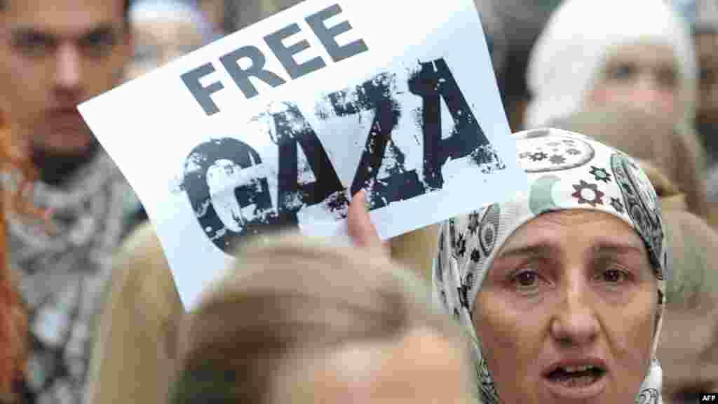Демонстрации в поддержку палестинцев в Сараево