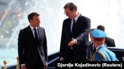 Српскиот претседател Александар Вучиќ и францускиот претседател Емануел Макрон, Белград, 15.07,2019.