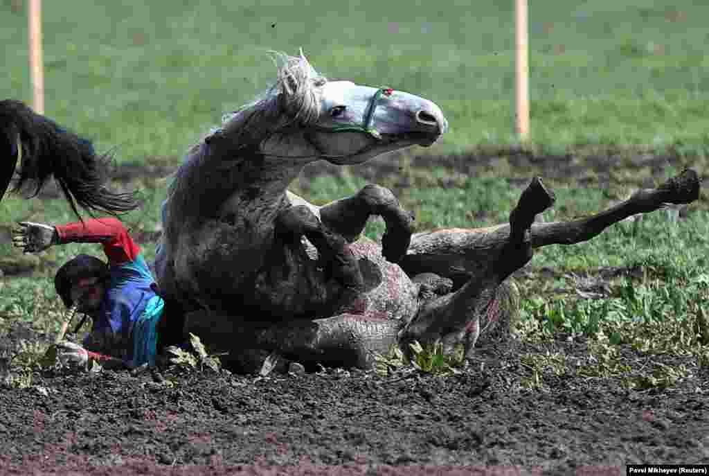 A rider and his horse fall to the ground while playing kokpar, a traditional game between two teams competing to throw a goat carcass, or a replica of a goat carcass, into a scoring circle, during the first Asian Equestrian Championship near Almaty, Kazakhstan. (Reuters/Pavel Mikheyev)