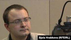 Алексей Михалевич во время интервью Русской редакции РСЕ/РС. Прага, 28 марта 2011 года.