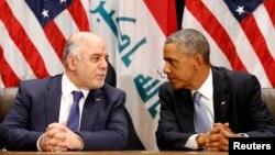 الرئيس الأميركي باراك أوباما ورئيس الوزراء العراقي حيدر العبادي في نيويورك