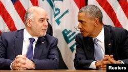 الرئيس اراك أوباما ورئيس الوزراء حيدر العبادي في لقاء على هامش إجتماعات الجمعية العامة للأمم المتحدة بنيويورك 24/9/2014