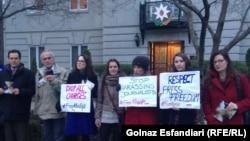 People rally in support of jailed journalist Khadija Ismayilova in front of Azerbaijani Embassy in Washington on December 8.
