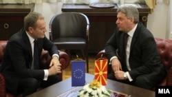 Архива: Средба на Претседателот на Ѓорге Иванов со претседателот на Европскиот совет Доналд Туск во Скопје.
