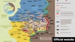 20 август куни Украина шарқидаги вазият акс этган харита.