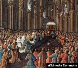 Жан Коломб. Крестоносцы находят священное копье Лонгина. 1474