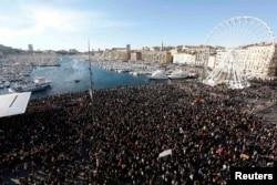 """Fransa - """"Şarli Hebdo""""ya dəstək aksiyası, Marsel, 10 yanvar"""
