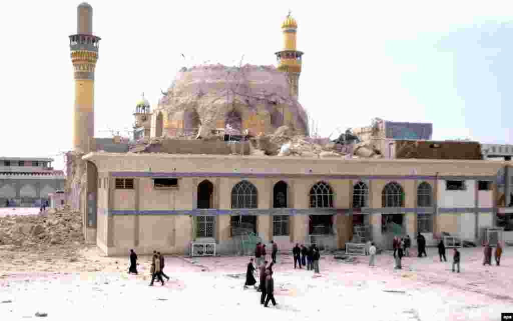 The Al-Askari Mosque shortly after the February 2006 bombing (epa) - Imam Ali and his son, Hasan, were imprisoned in Samarra, the capital of the Abbasid Dynasty, by Al-Mutawakkil Ala Allah Jafar bin al-Mu'tasim (821-861), who is considered the last great Abassid caliph.