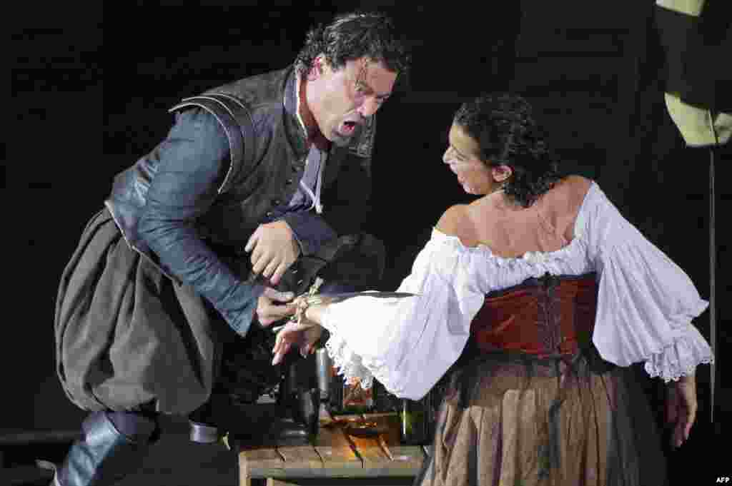 "Vittorio Grigolo and Marie-Ange Todorovitch in a rehearsal of ""Rigoletto"" in 2011. The opera draws on a play by Victor Hugo, and initially had trouble with censors in Austrian-controlled northern Italy for its satirical depiction of nobility."