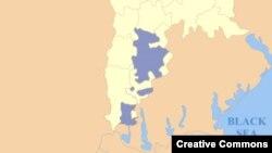 Молдова картасындағы күлгін түспен көрсетілген аумақ – Гагаузия аймағы.