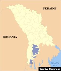 Молдовадагы Гагауз автономиясе җирләре харитада зәңгәр төстә