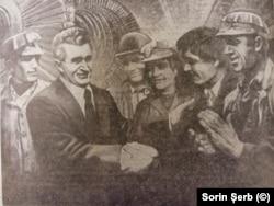 Николае Чаушеску и шахтёры