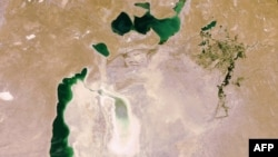 A satellite photo shows the vast area left dry by the shrinking of the Aral Sea.