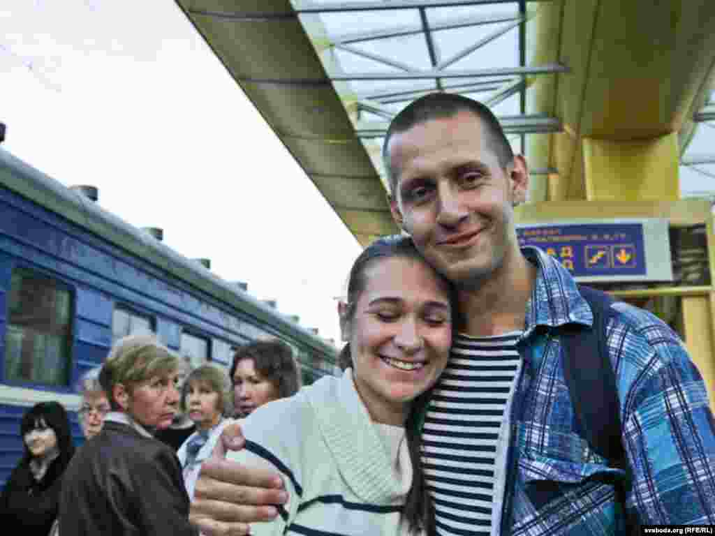 Kirkevich's wife met him at the train station in Minsk. His postelection imprisonment cut short their honeymoon.