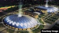 Макет спортивного комплекса с ледовой ареной, который планируют построить в Алматы для проведения Универсиады.