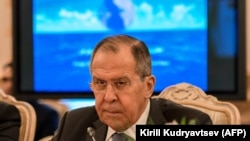 Russian Foreign Minister Sergei Lavrov attends a meeting of foreign ministers from the Caspian Sea littoral states in Moscow on December 5.