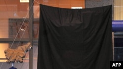 """The part of """"Entropa"""" representing Bulgaria is covered with a black sheet in Brussels."""