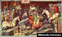 Прибуття половців до Угорщини («Ілюстрована хроніка», ХIV століття)