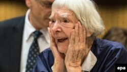 Lyudmilla Alekseyeva reacts after winning the third Vaclav Havel Human Rights Prize at the Council of Europe in Strasbourg on September 28, 2015.
