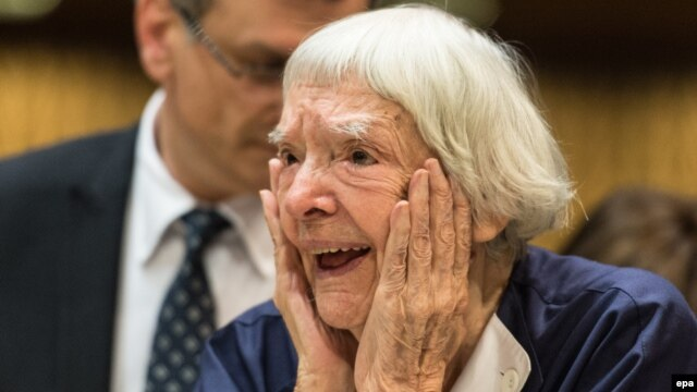 Russian human rights defender Lyudmilla Alekseyeva reacts after winning the third Vaclav Havel Human Rights Prize at the Council of Europe in Strasbourg on September 28.