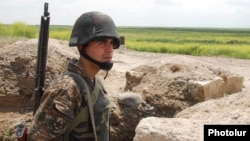 Nagorno-Karabakh -- An Armenian soldier on a frontline position east of Karabakh, 14May2010.