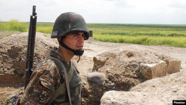 An Armenian soldier on a frontline position east of Karabakh (file photo)