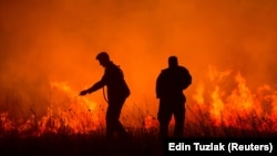 Gašenje vatre u selu Bribir kod Skradina, 2017.