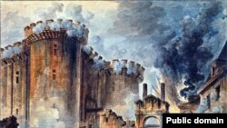 "France – ""The Storming of the Bastille"", Watercolor painting (Author: Jean-Pierre Houël (1735-1813) )"