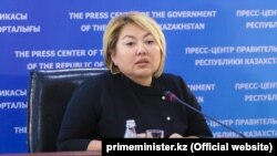 Вице-министр образования и науки Казахстана Эльмира Суханбердиева на брифинге. Астана, 9 октября 2018 года.