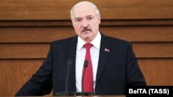 Belarusian President Alyaksandr Lukashenka delivers his annual state-of-the-nation address in Minsk on April 24.