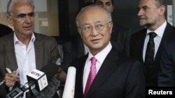 IAEA Director-General Yukiya Amano briefs reporters in Vienna on May 22, after his trip to Tehran.