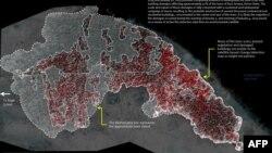 Спутниковый снимок, демонстрирующий разрушения в результате нападений исламистов на северо-востоке Нигерии (январь 2015 года)