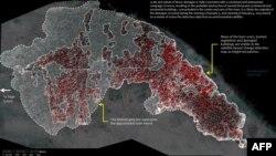 Спутниковый снимок, демонстрирующий разрушения в результате нападений исламистов на северо-востоке Нигерии (январь 2015 года).