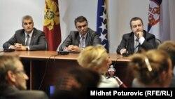 Sastanak ministara Sadika Ahmetovića, Ivana Brajovića i Ivice Dačića u Sarajevu, 12. septembar 2012.