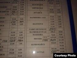 Фото автора: Таблиця на автостанції з вартістю проїзду до Москви, Санкт- Петербурга