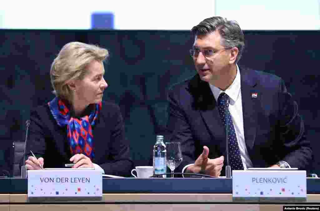 ХРВАТСКА / МАКЕДОНИЈА - Претседателката на Европската комисија Урсула фон дер Лајен, во Загреб изјави дека за Унијата е многу значајна соработката со Западен Балкан, а со тоа очекува и позитивни придвижувања во насока на отворањето преговори со Северна Македонија и Албанија.