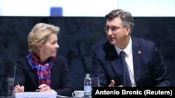 Predsjednica Europske komisije Ursula von der Leyen sa hrvatskim premijerom Andrejem Plenkovićem u Zagrebu