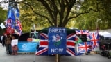 U.K. -- Pro-Brexit protesters demonstrate outside the Houses of Parliament in London, Britain, October 28, 2019.