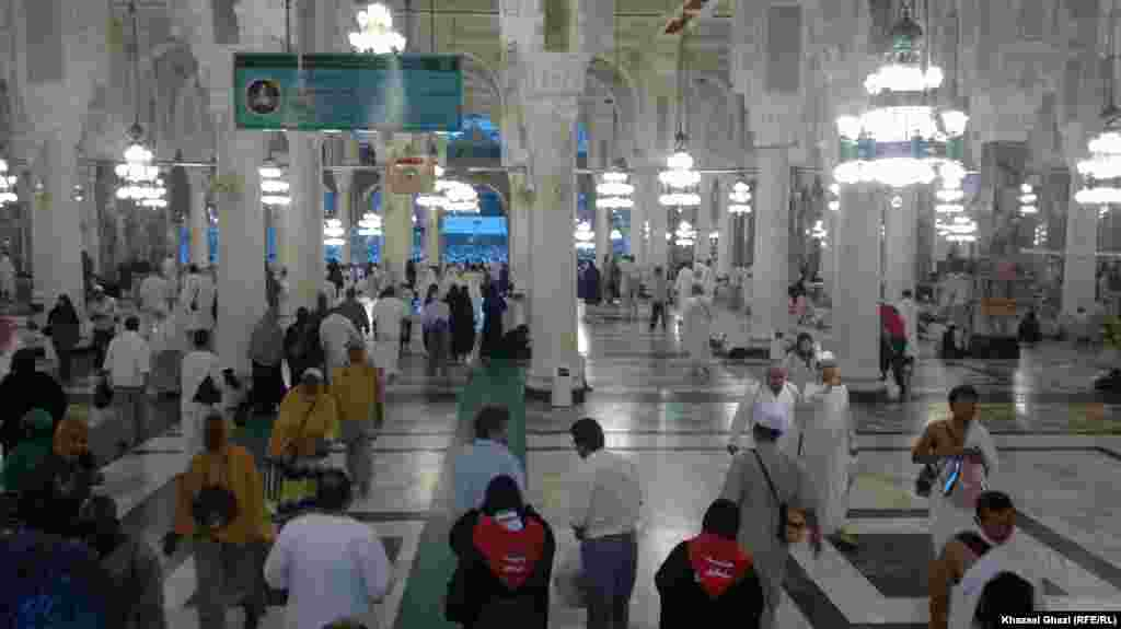 Muslim pilgrims inside the Sacred Mosque in Mecca City